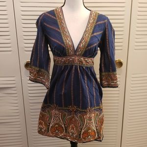 Twenty One Blue & Orange Paisley 3/4 Sleeve Dress